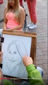 Karykatury dziewczyny i chłopaka