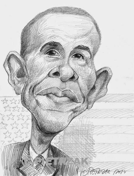 Barack Obama karykatura studyjna