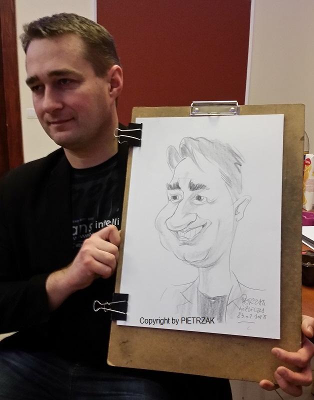 Karykatura na żywo, z modela