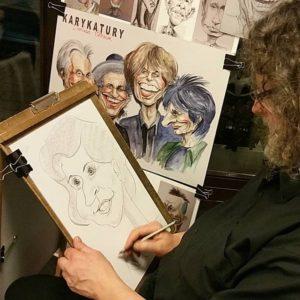 Karykatury na imprezie, karykatury na żywo, rysowanie, karykatury The Rolling Stones