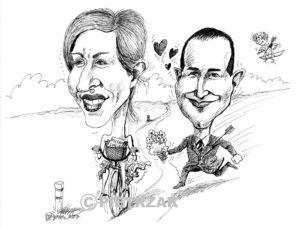 karykatury na weselu, karykatury na zamówienie, karykatury ze zdjęć, karykatury na zaproszeniu weselnym, rysowanie karykatur, karykatury na imprezie, karykaturzysta na wesele