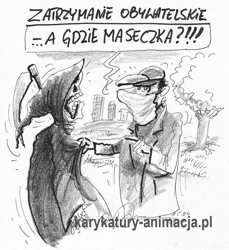 karykatura, humor, covid, pandemia, rysunek satyryczny, karykaturzysta