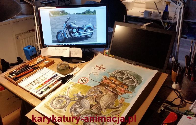 karykatura na motorze, karykatura ze zdjęć, karykatura na prezent, karykatura na rocznicę, karykaturzysta