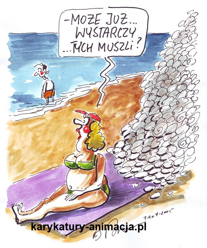 karykatura, karykatury, wakacje nad morzem, humor, żart, karykaturzysta